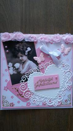 Lief vintage kaartje gemaakt in roze!