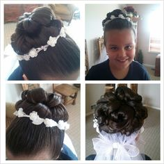 First communion up do I did for a gorgeous little girl...wonderful to keep hair out of face. Fairly simple tie hair in a pony tail, curl the ends and pin hair into the desired design then spray it down with hairspray :)