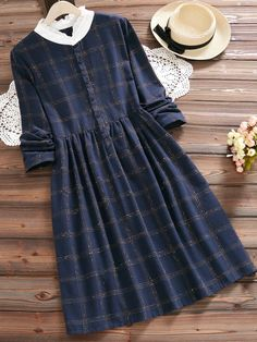 Vintage Plaid Print Patchwork Long Sleeve Dresses For Women is high-quality, see other cheap summer dresses on NewChic. Cheap Summer Dresses, Stylish Dresses, Cute Dresses, Casual Dresses, Amazing Dresses, Muslim Fashion, Hijab Fashion, Fashion Dresses, Pakistani Fashion Casual