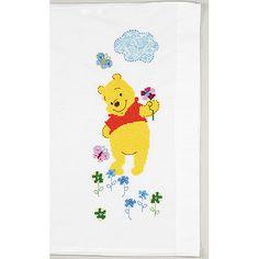 Pillow Case Cross Stitch Kits | Disney Pillowcase Stamped Cross Stitch Kit-Pooh 1/Pkg: Pretend Play ..