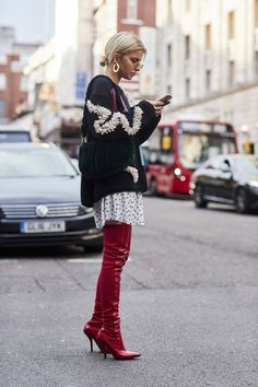 Spring skirts and dresses with over the knee boots and oversize sweaters | Girlfriend is Better