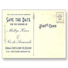 art deco save rthe date postcard | My Save the Dates! (back) Art Deco Save the Date Postcard - alternate ...