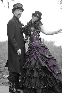 Steampunk wedding dress --- would love in white/cream with emerald and sapphire accents!!!!