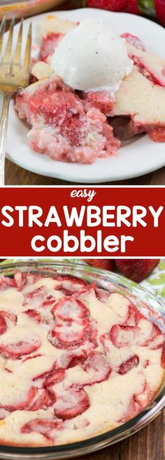 Easy Strawberry Cobbler - this easy cobbler recipe uses fresh berries and is topped with an easy batter that can be made lower in sugar! ~ Crazy For Crust Strawberry Recipes, Fruit Recipes, Sweet Recipes, Dessert Recipes, Cooking Recipes, Recipies, Easy Cooking, Diabetic Recipes, Yummy Recipes