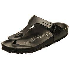 Birkenstock Women's 'Gizeh' Black Leather Sandals | Overstock.com Shopping - The Best Deals on Sandals