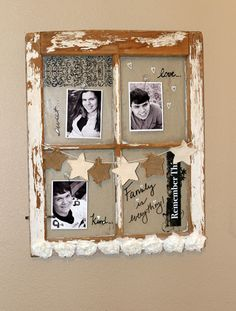 I love this project for many reasons.  The burlap background for the windows, the burlap star banner and the ribbon/roses at the bottom.