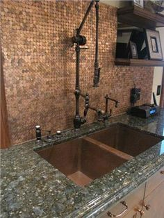 """Towson Gantry Faucet with 18"""" Reach, and pennies backsplash -- for those who have OCD and TIME."""