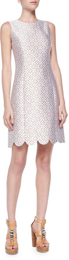 Michael Kors Scallop-Hem Shift Dress, Optic White