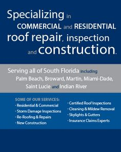 #RoofRepairCompanyJupiter Roof repair company Jupiter offers high quality services to extend the life of your roof. We treat our customers with respect, dignity and courtesy. We promised to complete your project on time.