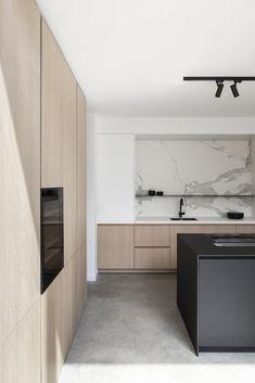 Kitchen Room Design, Modern Kitchen Design, Interior Design Kitchen, Scandinavian Interior Design, White Interior Design, White Oak Kitchen, Black Kitchens, Open Kitchen, Scandinavian Kitchen