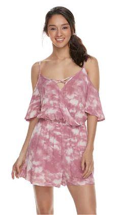 0df4d3430af2 Mudd Romper Jumpsuit Pink Mauve Tie-Dye Wrinkle Fabric Juniors Size XL   fashion