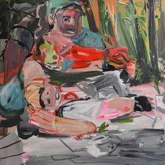 """Camping,"" original figurative painting by artist L Verkler available at Saatchi Art #SaatchiArt"