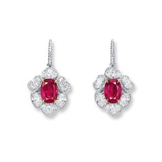 Important pair of 5.06 and 4.01 carats Burma, Mogok ruby and diamond pendent earrings
