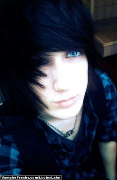 emo boy black hair blue eyes