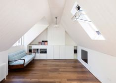 "nice Hampstead loft conversion by Alexander Martin features ""a new twist on the hidden library door"" Interior Architecture, Interior And Exterior, Interior Design, Attic Conversion, Loft Conversions, Arts And Crafts House, Loft Room, Secret Rooms, Attic Rooms"