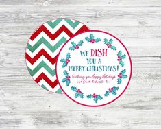 We DISH you a Merry Christmas Tag for by LilacsAndCharcoal on Etsy. Neighbor Gift Idea- Pair tag with cute holiday paper plates, napkins, cups