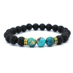 Beautifully handcrafted, this stunning beaded Buddha stretch men's bracelet has two premium quality Gold plated rings and 3 blue Onyx globe beads for the nomads, travellers and dreamers of this beauti