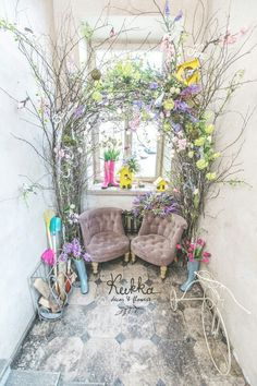 Spring decoration. Spring Photo bouth.