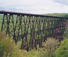 Kinzua Bridge Pennsylvania-USA    Now only part of the bridge remains as a tornado took out the middle sections. A park remains with a lookout made out as far as the bridge goes.  Nice history trip and beautiful scenery.