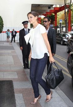 Katie Holmes Paris - love the shoes and top, ok everything!