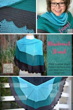 Free Crochet Pattern by Marly Bird™ Grab a cake of the new It's A Wrap yarn and get the Bluebonnet Shawl on your hook! Great DIY fashion project for summer, free pattern by Marly Bird! #freepattern #shawl #crochet #cakeyarn #free