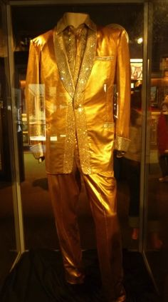 The famous gold lame suit. I don't think anybody else could ever have pulled that off even today.  It is on permanent display at Graceland for all Elvis fans to see and admire