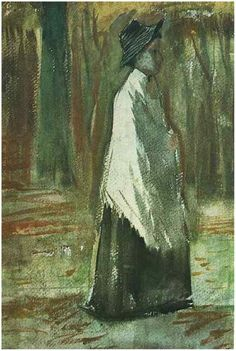 Woman with White Shawl in a Wood Vincent van Gogh Watercolor, Watercolour The Hague: July - late in month, 1882