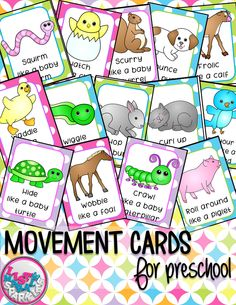 These baby animals themed movement cards will keep your students active while they're excited for the weather to warm up! Keep those excited little ones busy around the holidays and when it's too cold to go outside! All while teaching them about different actions, animal names and improving their gross motor skills! Print and cut these out, laminate them and keep them all together on a metal ring. Put on some music and let your kids dance! Spring Animals, Baby Animals, Movement Activities, Class Activities, Toddler Activities, Animal Movement, Animal Action, Action Cards, Gross Motor Skills