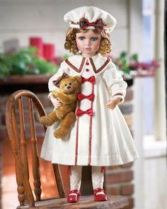 Porcelain Doll In White Coat Holding Teddy Bear