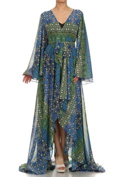 It's time to fall in love with Dress !Aztec Diamond Print Full Length Chiffon Dress.