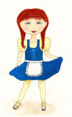 Watercolor girl #12 - Heidi