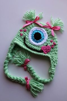 Items similar to One Eyed Monster Earflap Hat-Custom made any size on Etsy Bonnet Crochet, Crochet Baby Hats, Crochet Beanie, Cute Crochet, Crochet Crafts, Knitted Hats, Knit Crochet, Crochet Monster Hat, Crochet Monsters