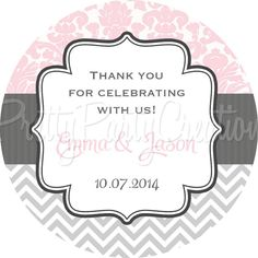 GREY/ROSE Chevron & Damask favor tags  3 by PrettyPartyCreations