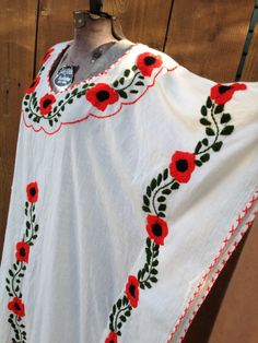 Mexican Kaftan Dress with flowers by ReynasCloset on Etsy, $37.00