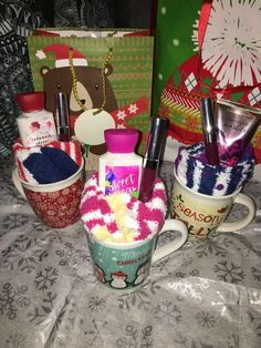 Cheap gifts for roommates/friends under $10 ! I love Christmas and giving to others so I decided to do this cute happy for my roomies. Each gift has $1 mug and $1 socks from dollar tree $4.80 color pop and $3.96 bath & body works mini lotion!
