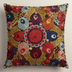 Featuring all-over embroidery inspired by traditional Hungarian folk art, our floral throw pillow is a multidimensional accent for a chair or sofa. >> #WorldMarket Living Room