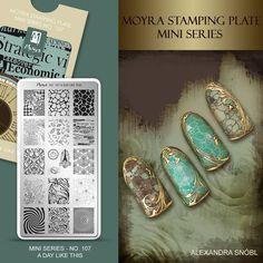 Moyra Stamping Plate Mini Series No. 107 A day like thos  #moyra #nailart #stamping #plate #miniseries #mini #available #new #koromnyomda #stamper #nyomdazo #nyomda #adaylikethis #koromdiszites