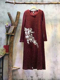 Ladylike Beautiful Embroidery Maxi Dress Wool Elegant Dress  #elegant #dress #maxidress #large #embroidery #loose #plussize #Wool