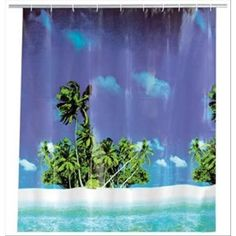 Wenko 19101100 Tenda per doccia  spiaggia con palme , con pellicola in plastica,