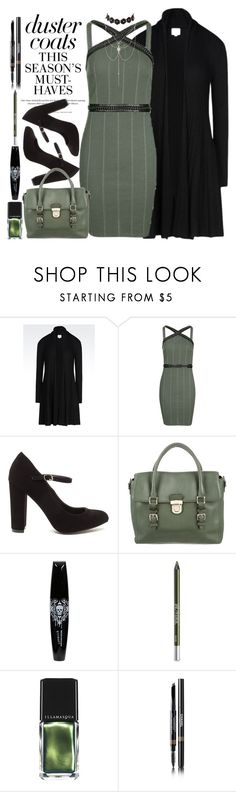 """""""Duster Coats"""" by loves-elephants ❤ liked on Polyvore featuring Armani Collezioni, H&M, Topshop, Kate Spade, Hot Topic, Urban Decay, Illamasqua, Chanel and Charlotte Russe"""