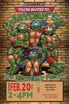 ninja turtle invitation templates - Google Search
