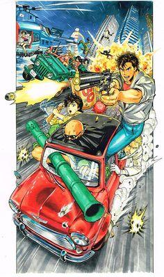 Ilustración del artista Yusuke Murata (Eyeshield 21, OnePunch-Man) para conmemorar el 30º aniversario de Tsukasa Hojo como dibujante.