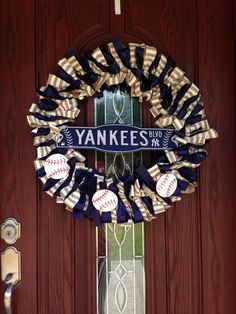 Yankees wreath I made for baseball season :)