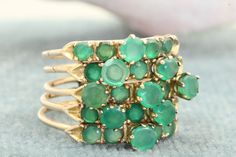 Ruby Lane - Estate 14K Emerald Rose Gold Stack Ring $1,050 #rings #stacking rings