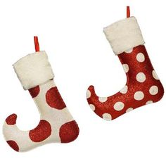 "Whimsical Polka Dot Christmas Stocking Ornament Set of 2     2 Assorted ornaments Set includes one of each style Red, White Metal, Polyester Approximately 8"" in ht; 2 1/2"" in width"