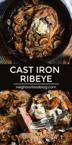 Cast Iron Ribeye with Mushrooms Serve up this Cast Iron Ribeye Steak for your next date night in! This easy steak recipe is smothered in buttery mushrooms and seared to perfection in a cast iron skillet. Save some cash and enjoy a perfect steak at home! Rib Eye Recipes, Easy Steak Recipes, Beef Recipes, Cooking Recipes, Steak Dinner Recipes, Cast Iron Skillet Steak, Iron Skillet Recipes, Cast Iron Recipes, Skillet Food
