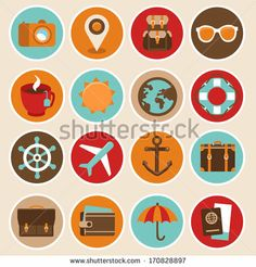 Vector Travel And Vacation Icons In Flat Style - 170828897 : Shutterstock