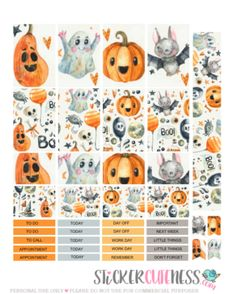 Free Printable Crazy Halloween Planner Stickers from StickerCuteness