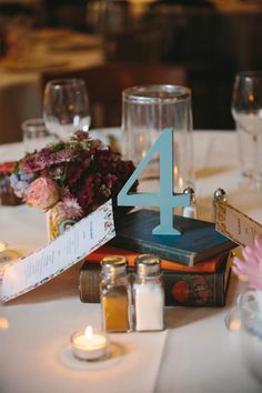 Painted wooden numbers for banquet tables