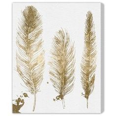 Gold Feathers Canvas Print, Oliver Gal